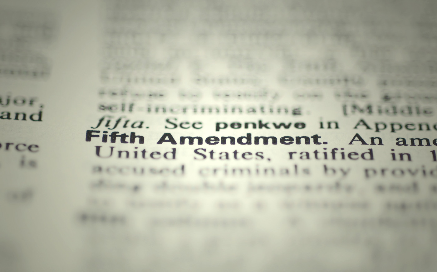 the fifth amendment to the constitution from the dictionary